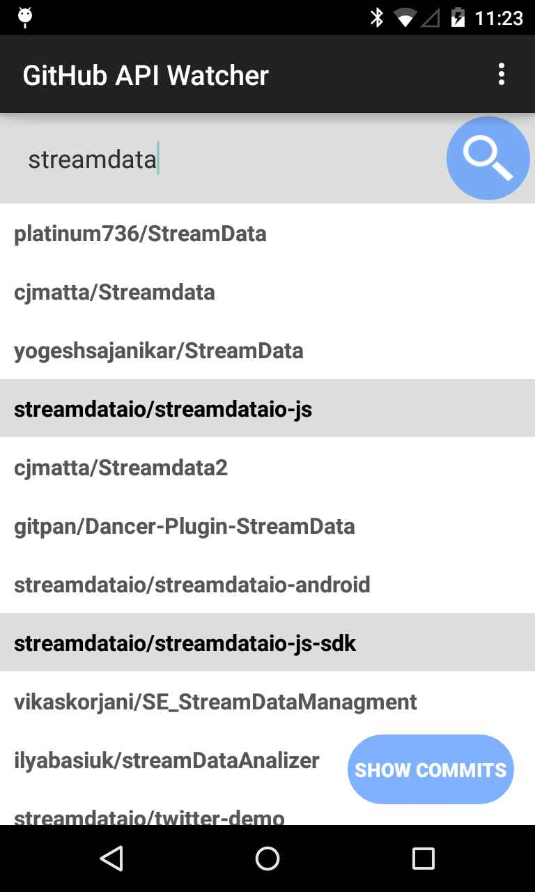 Android Github Client with commits in real-time