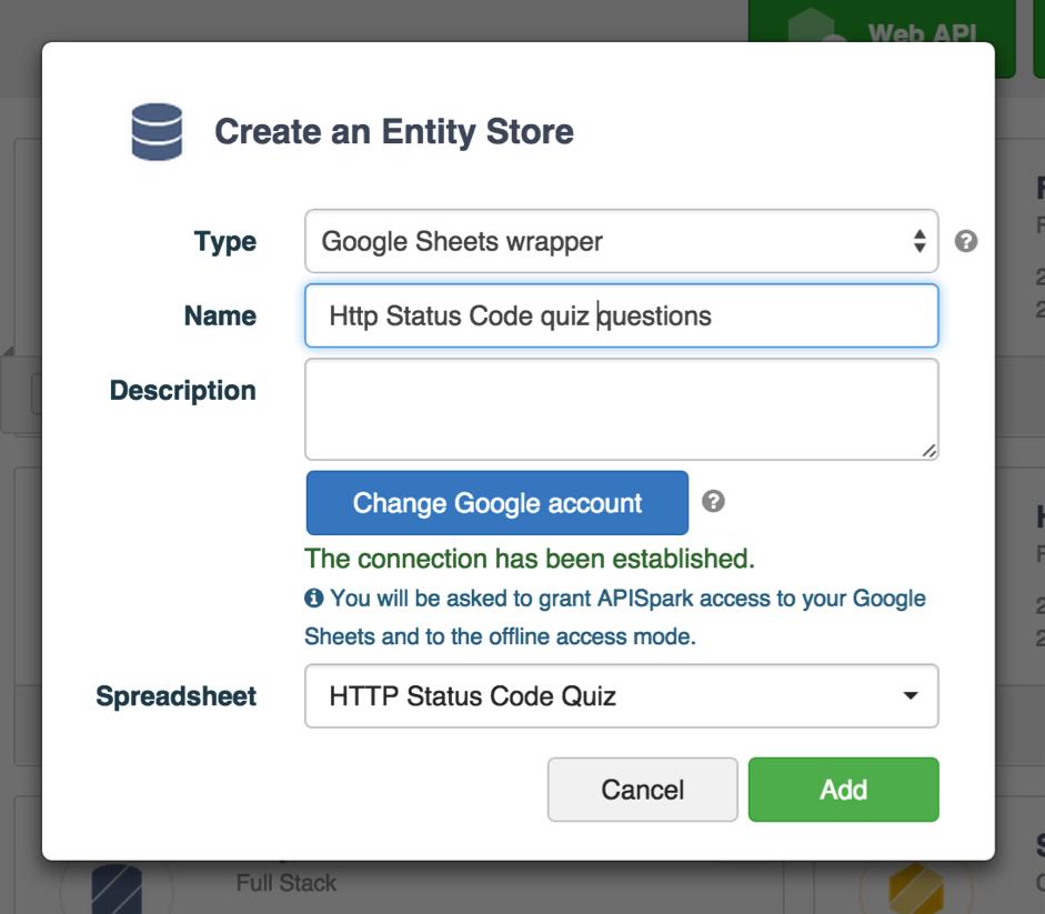 Live quiz application w/ Googlesheet APISpark Streamdata io