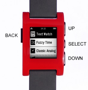 Pebble Watch control buttons