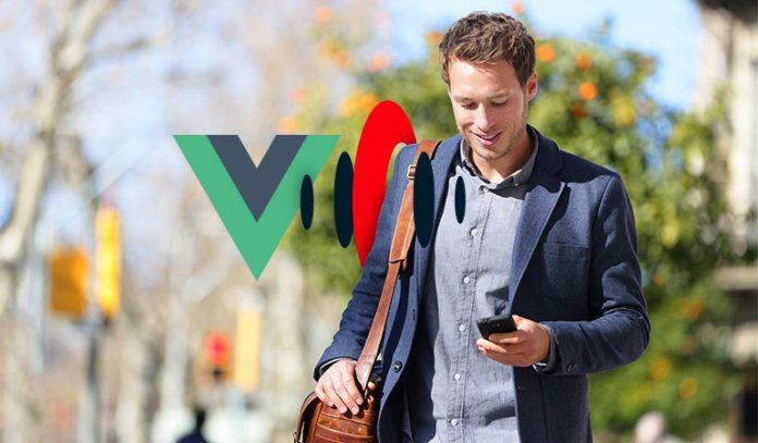 Vue and Streamdata logo and man on mobile phone