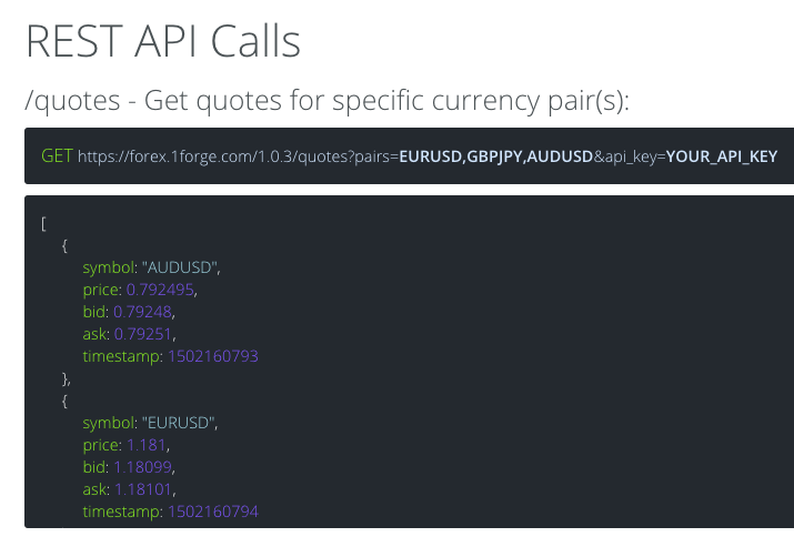 REST API Calls on 1Forge API