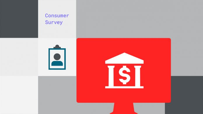 text: consumer survey, accompanied by a clipboard graphic and graphic of a bank on a red computer background