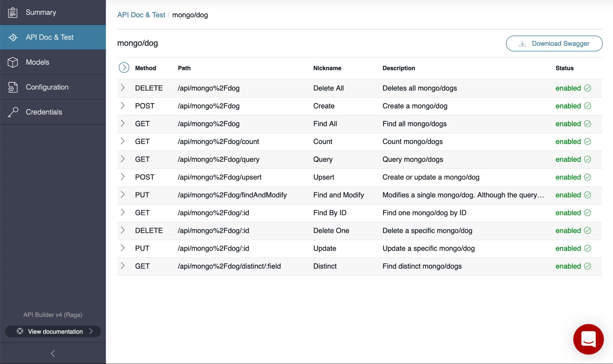 See the full set of CRUD APIs
