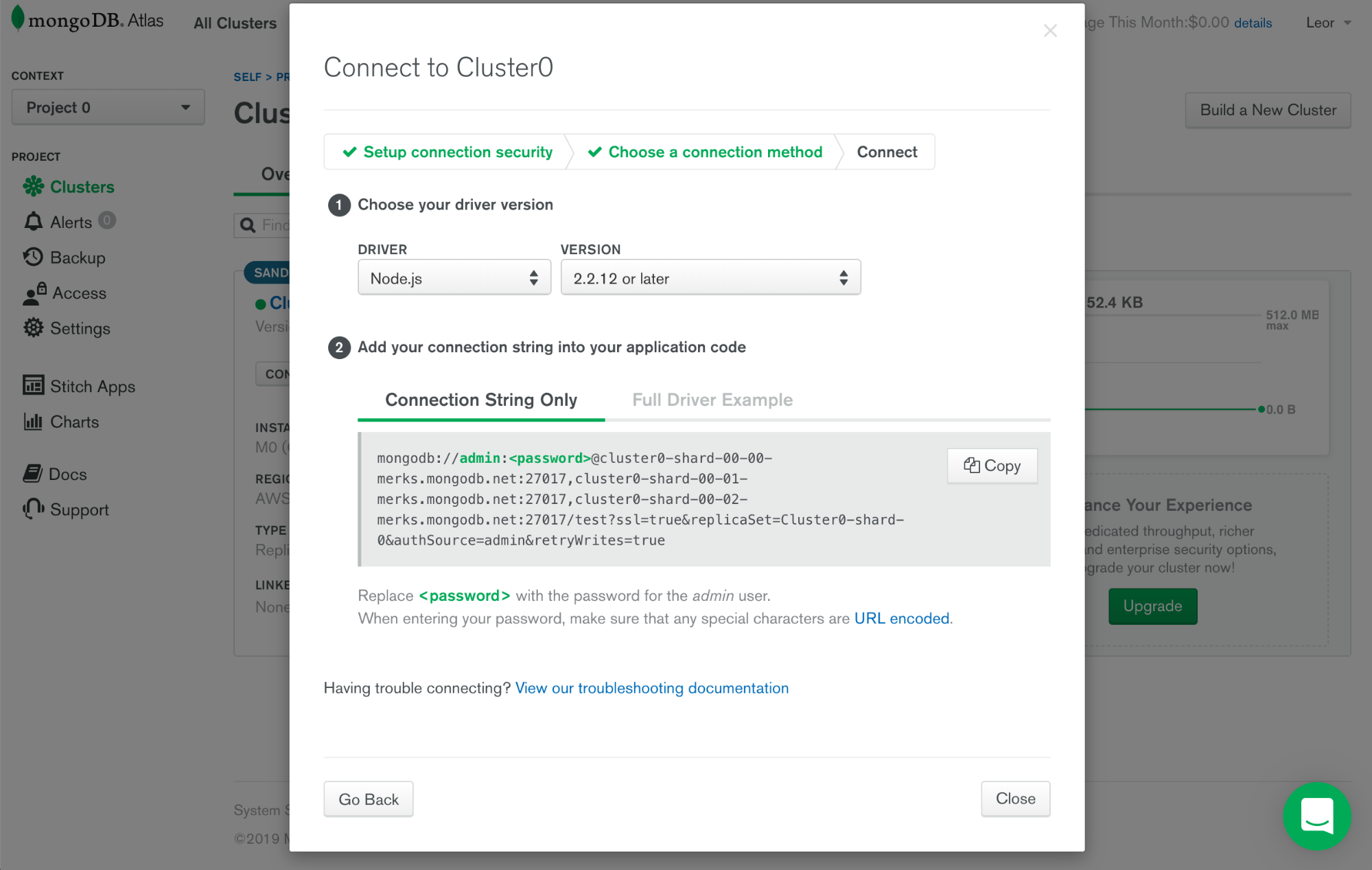 Retrieve the connection string for my MongoDB Atlas managed instance