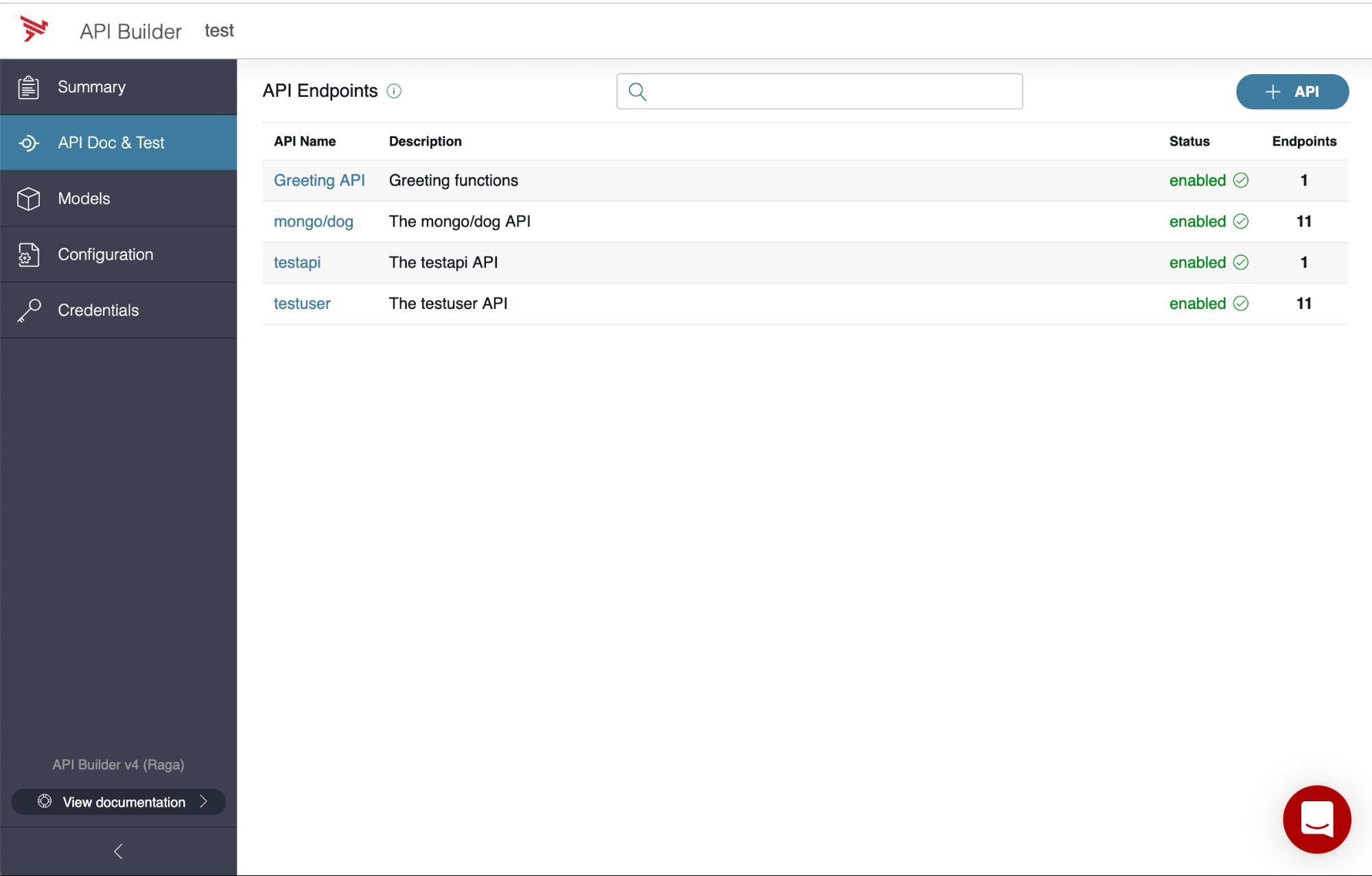 API Builder - API Doc & Test tab