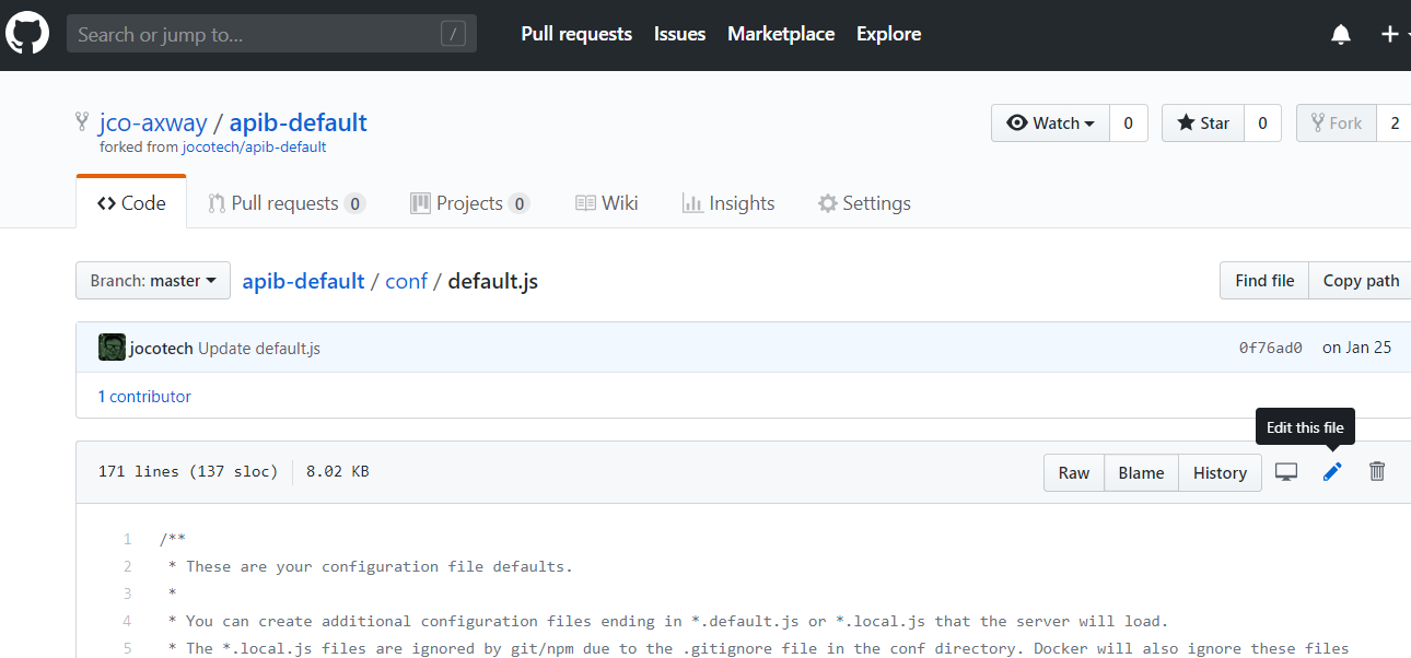 browse to api builder project in GitHub