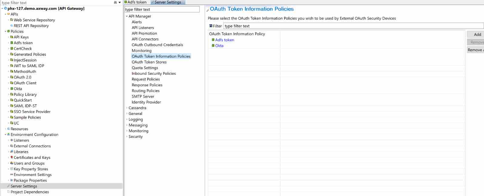 Add the Policy Under the OAuth Token Information Policies