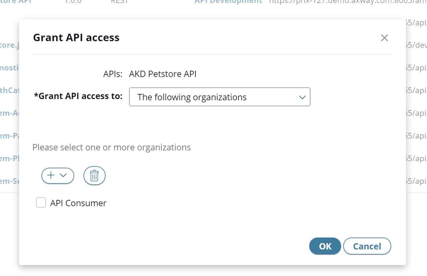 Publish the API, grant the API access to the right Organization