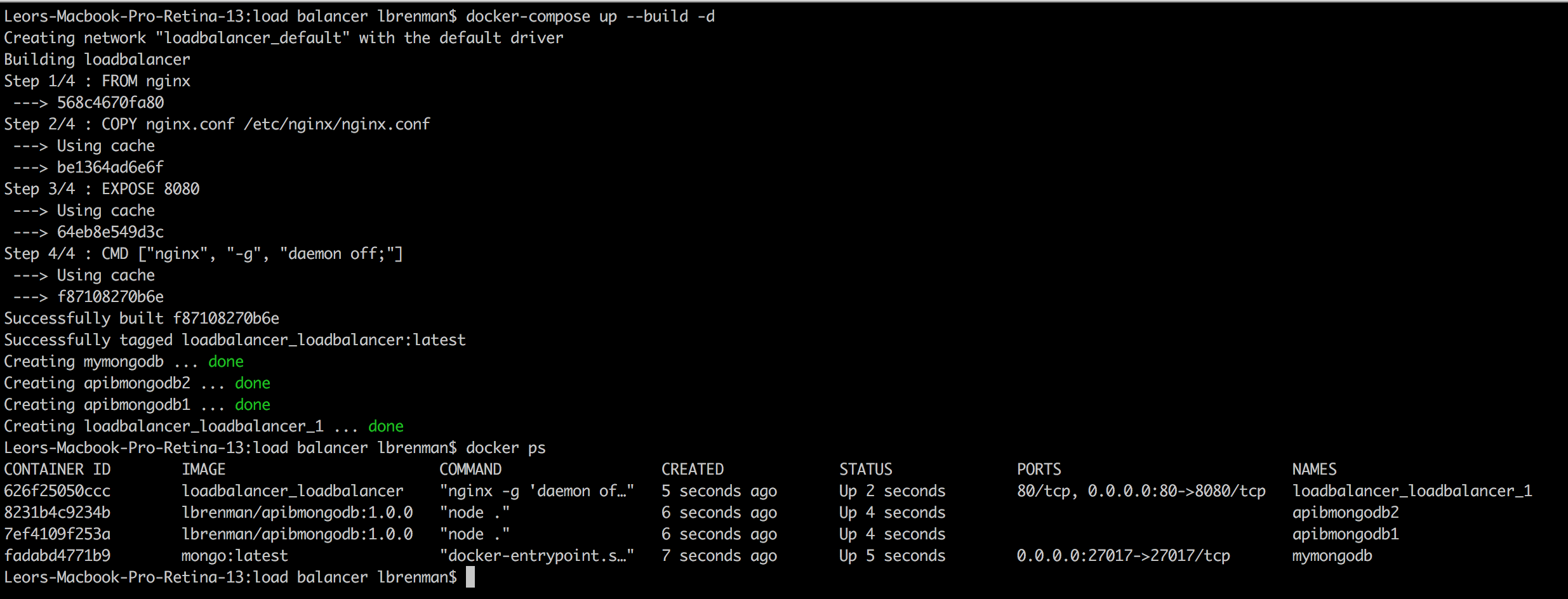 results of docker ps command