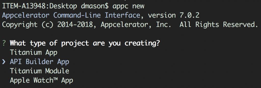 API Builder App Command Prompt