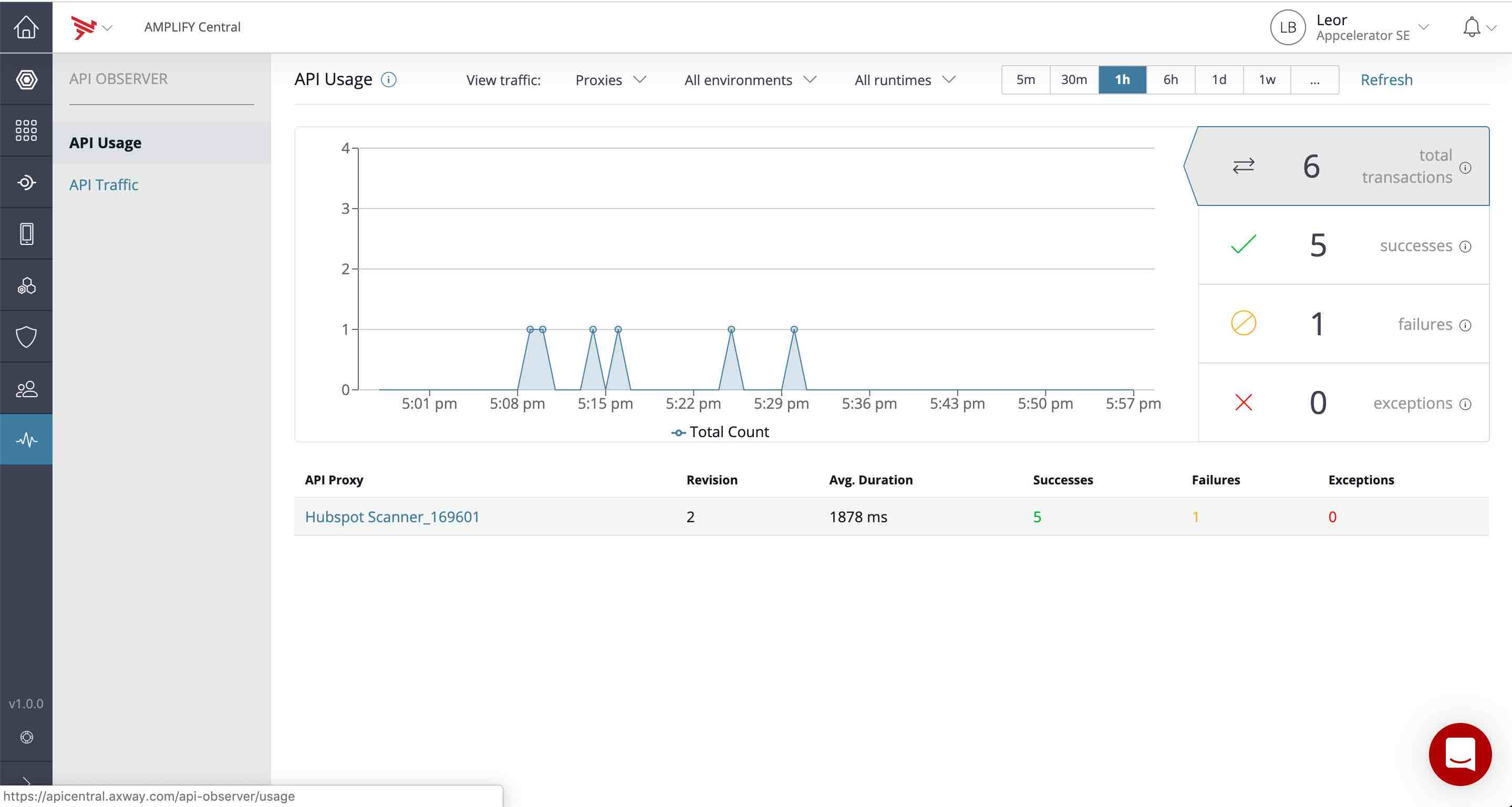 View analytics of our API calls in the API Observer tab
