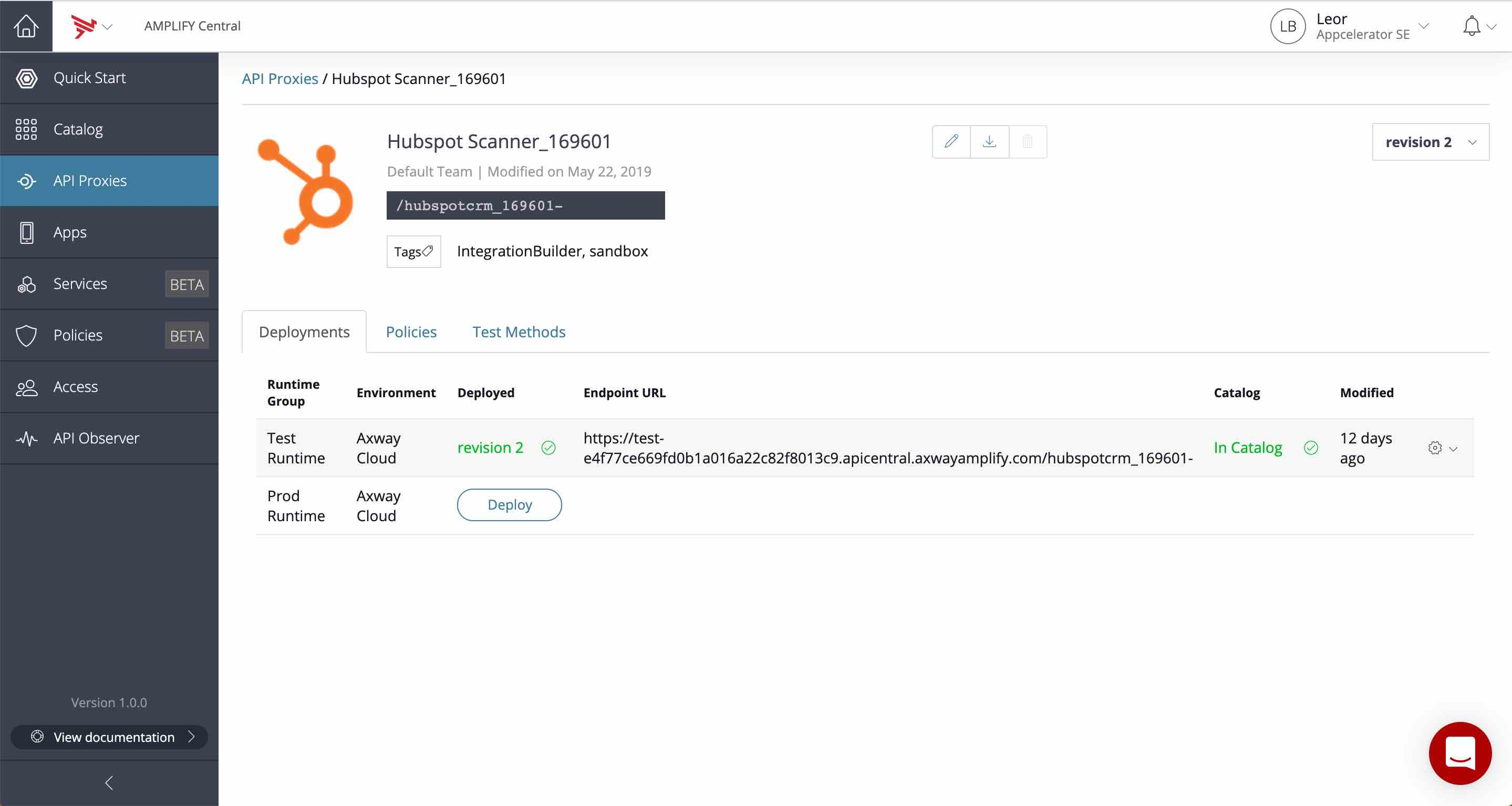Hubspot API Proxy in AMPLIFY Central