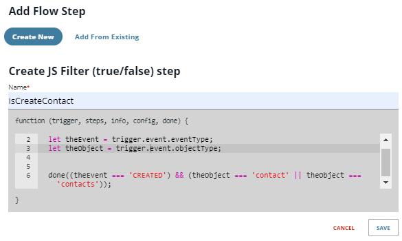 Create JS Filter step