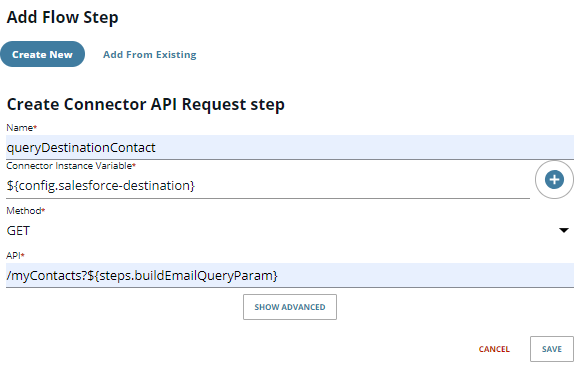 create Connector API Request step