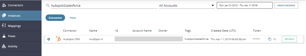 Instance of the HubSpot CRM connector