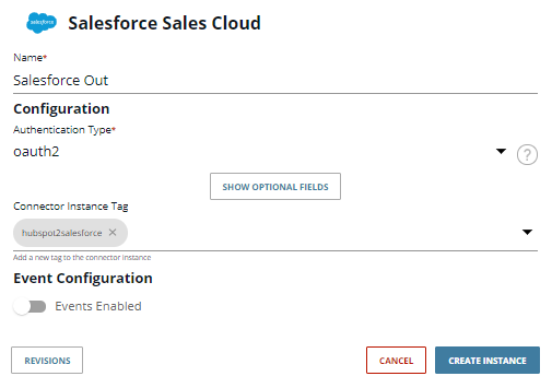 Click the CREATE INSTANCE button