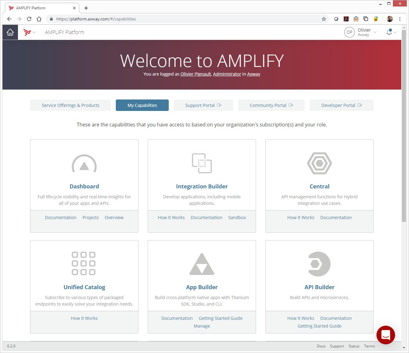 AMPLIFY Platform Home Page - Capabilities