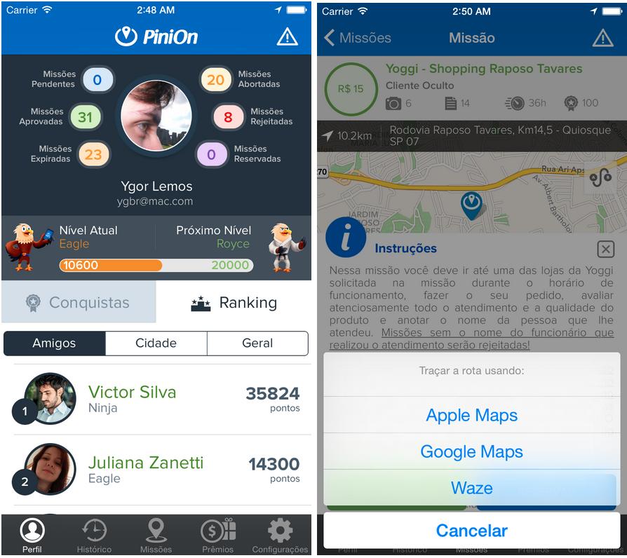PiniOn mobile app