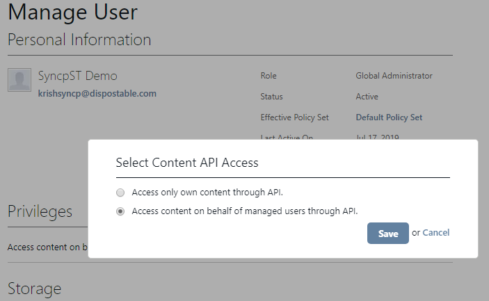 Access content on behalf of managed users through API