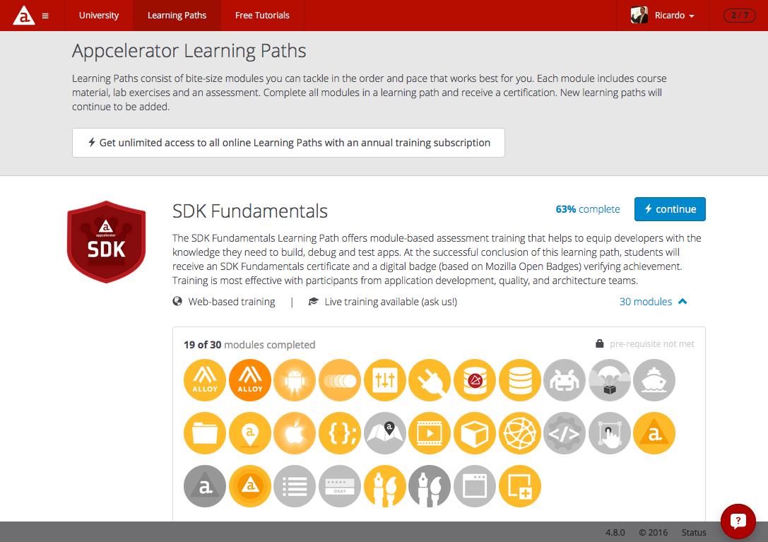 Appcelerator University - Learning Path: SDK