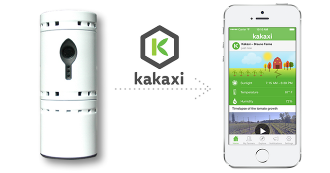 Photo of Kakaxi device and mobile app.