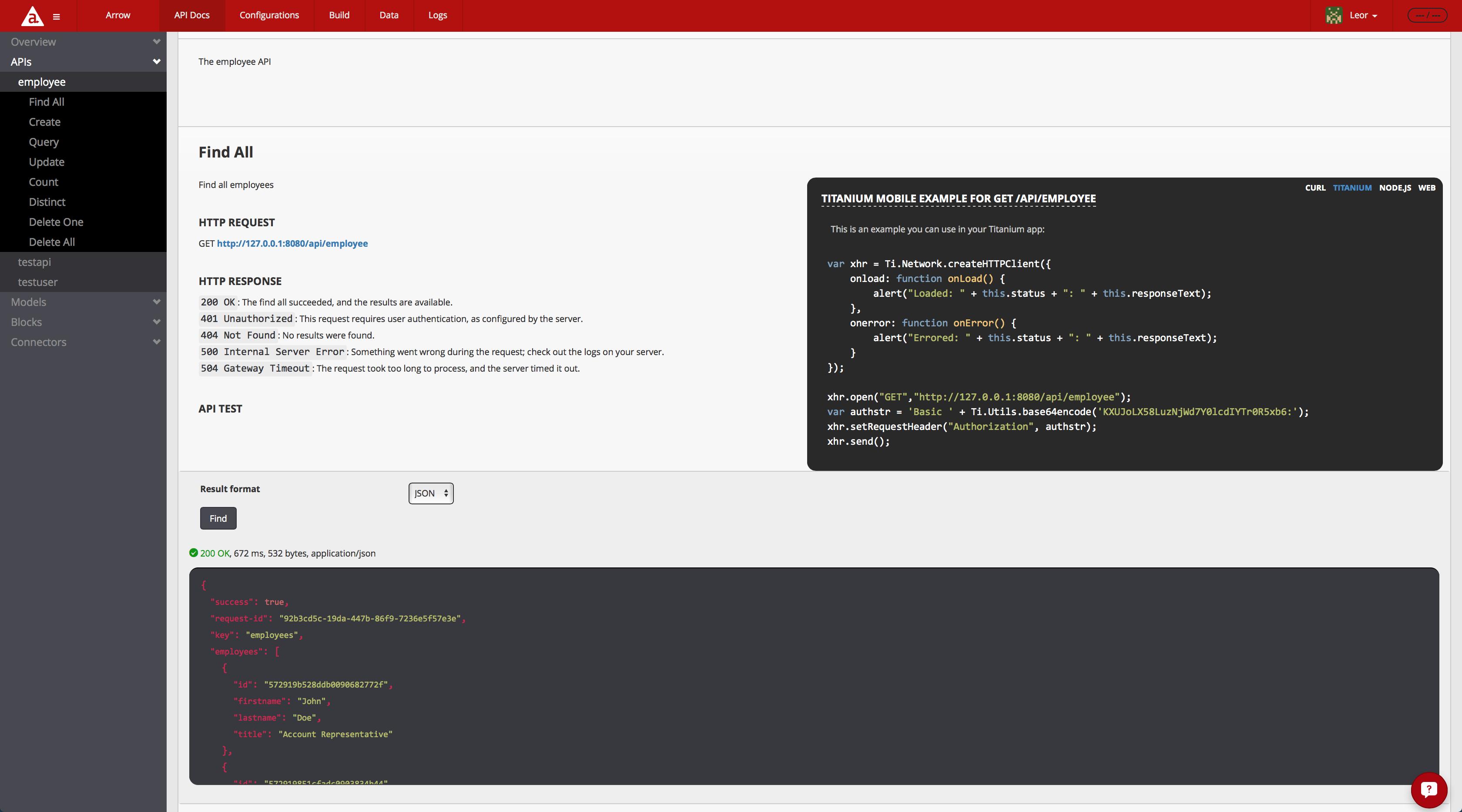 Appcelerator Arrow Client-Side SDK Example