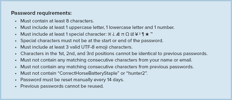Example of crazy password requirements.